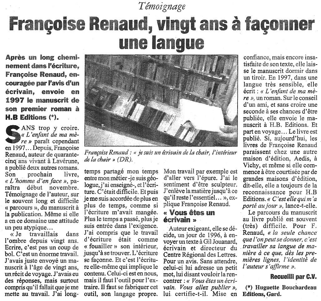 L'Hérault du jour, octobre 2001