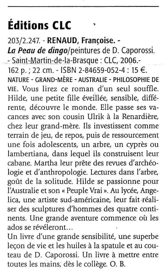 Le Cahier des Livres, septembre 2006