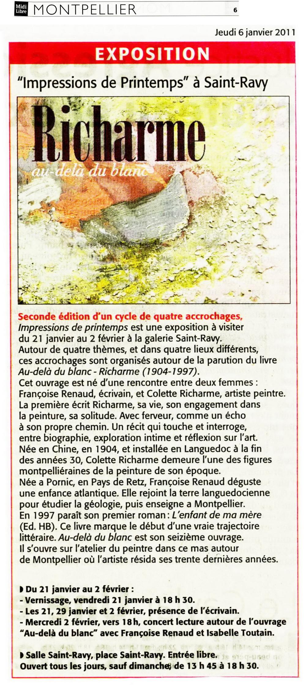 Midi Libre, janvier 2011